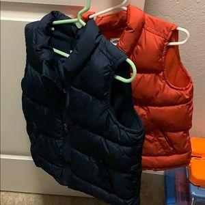 2 items! Kids parka vest orange and navy blue